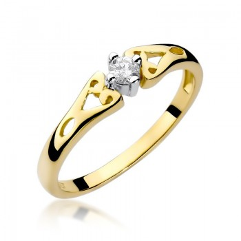 Goldener Ring pr 585 Diamant 0,10 ct