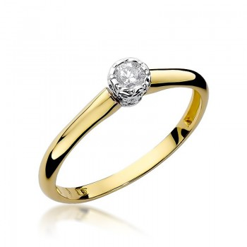 Goldener Ring pr 585 Diamant 0,13 ct