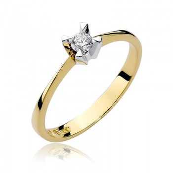 Goldener Ring pr 585 Diamant 0,12 ct